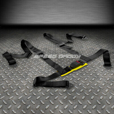 """1X Universal 4-Point 2"""" Strap Drift Racing Safety Seat Belt Buckle Harness Black"""