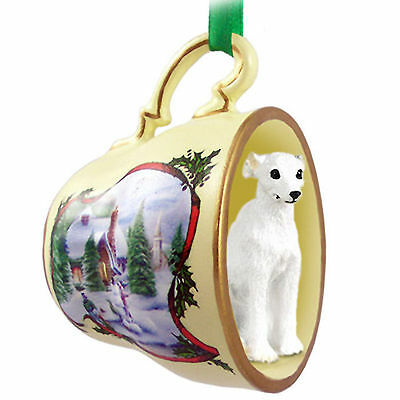 Whippet Dog Christmas Holiday Teacup Ornament Figurine White