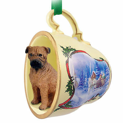 Bull Mastiff Dog Christmas Holiday Teacup Ornament Figurine