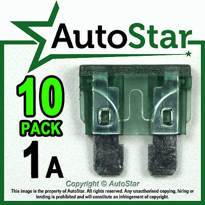 1 Amp Blade Fuses x 10 – Standard ATO / ATC Automotive Fuse - Pack 1A  1Amp 1 A