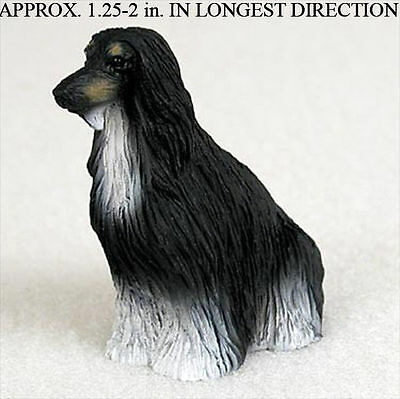 Afghan Mini Resin Hand Painted Dog Figurine Statue Blk/Wht