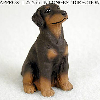 Doberman Pinscher Mini Resin Hand Painted Dog Figurine Statue Red Uncrop