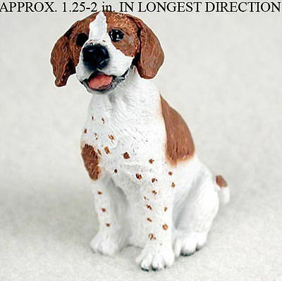 Pointer Mini Hand Painted Figurine Brown/Wht