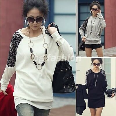 New Womens Batwing Tops Long Sleeve Casual Blouse Leopard Print T-Shirt 3 COLORS