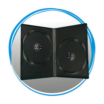 100 Standard 14mm Double CD DVD Black Storage Case Box