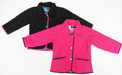 Girls New Quilted Diamond Jacket Checked Lining Ages 12 Months - 4 Years