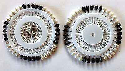 Lot of (2) Sets of (40) Small Hijab Pins: (2) New Black & White Combo Sets