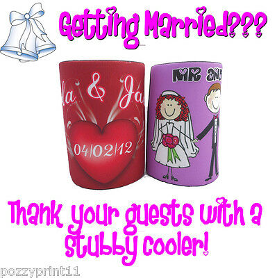 1x PERSONALISED WEDDING STUBBY COOLER/ holder, favors, Bomboniere, guest gift