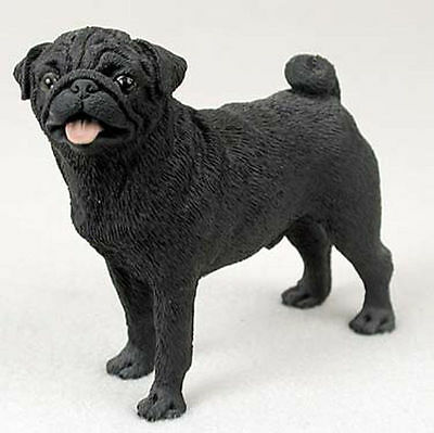 Pug Hand Painted Collectible Dog Figurine Black