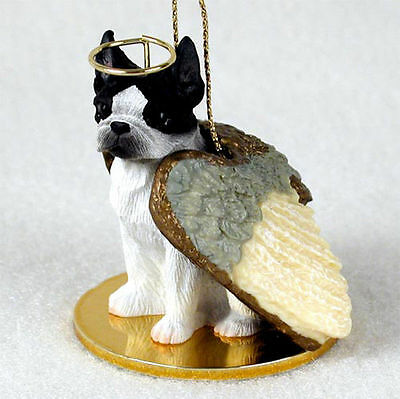 Boston Terrier Dog Angel Statue Figurine