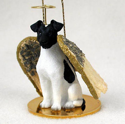 Fox Terrier Ornament Angel Figurine Hand Painted Black/White