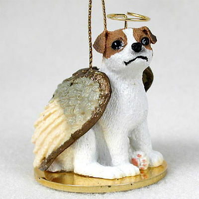 Jack Russell Ornament Angel Figurine Hand Painted Brown/White Smooth