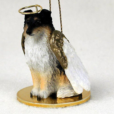 Sheltie Dog Figurine Angel Statue Tri Color