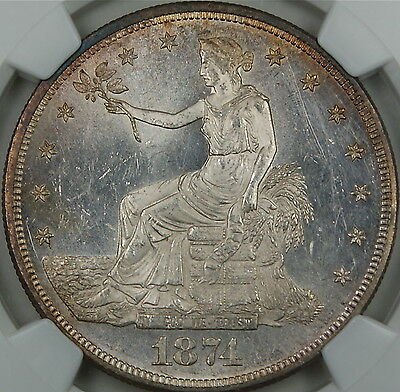 1874-CC Silver Trade Dollar $1 Coin NGC UNC BU Details Improperly Cleaned