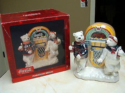 Coca Cola Pearlescent Musical Figurine With Polar Bears At Jukebox - Nib