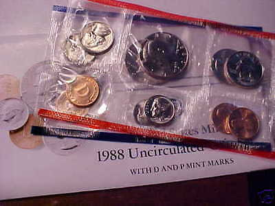 1988 P&D Mint Set, Brilliant Uncirculated US Coins in OGP W/ Envelope & COA