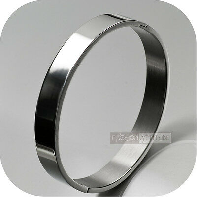 Silver Bracelet Bangle Stainless Steel Oval Wide Polished Mens Fashion Attitude