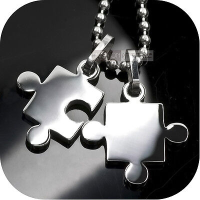 316L stainless steel 2 pieces puzzle pendant free necklace sydney stock