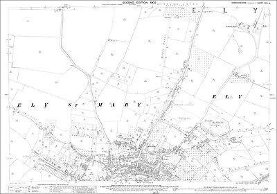 Ely (north), Cambridgeshire in 1902 - old Ordnance Survey map 26-10