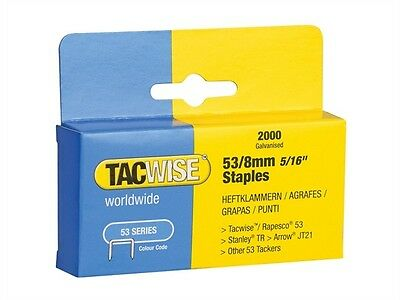 Tacwise 53/8 Staples 8mm 2000 Pk Suitable For Arrow JT21 Rapdi R53 Type 53