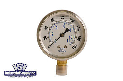 "0-160 psi 2.5"" Liquid-Filled Hydraulic Air Water Gauge"