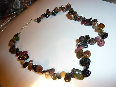 COLLIER TOURMALINE MULTI COULEURS   perles 6mm A 14MM LITHO-Reiki