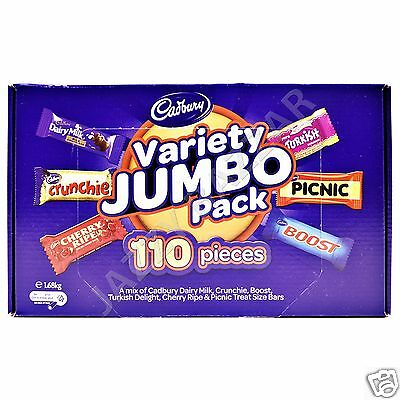 110 Cadbury Treat Size Value Jumbo Party Pack Picnic Cherry Ripe Crunchie Boost