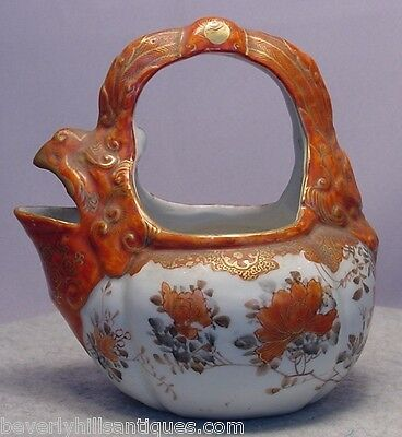 Rare Signed Antique Japanese Porcelain Animal  and Flower Handled Pitcher