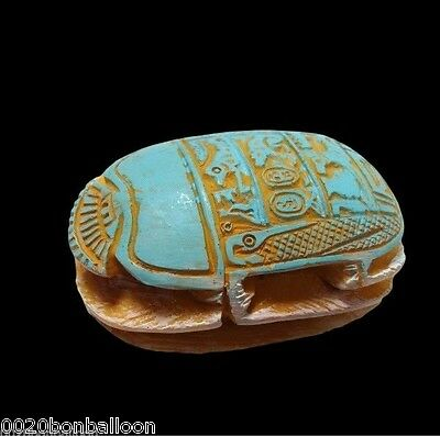 "Handmade 2.3"" Scarab Big Statue Egyptian Pharaoh Paperweight Fridge Magnet  201"