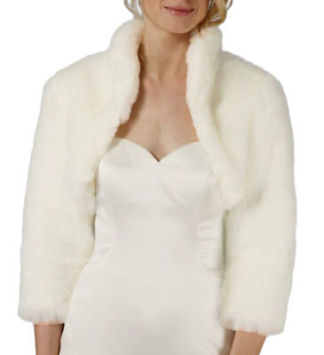 Faux Fur 3/4 Long Sleeve Bridal Shrug/wedding Bolero/capelet/coat/cape/jacket