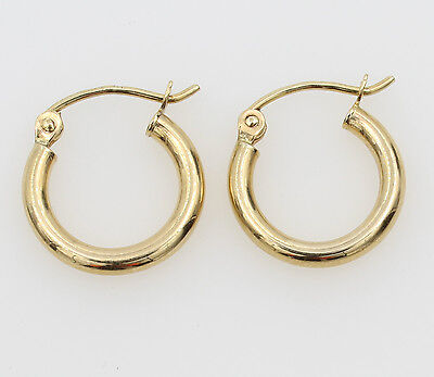 """14K Yellow Gold 2mm Thick Small Classic Polished Hinged Hoop Earrings 11mm 7/16"""""""