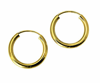 14K Real Yellow Gold 2mm Thickness Polished Endless Small Hoop Earrings 1/2""