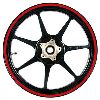 Red 16 to 19 inch Motorcycle, Scooter, Car Wheel Rim Stripes 10mm wide