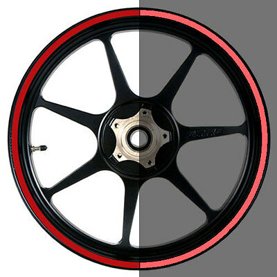 Reflective Red 16 to 19 inch Motorcycle, Car Wheel Rim Stripes 8mm wide