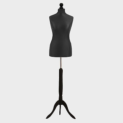 Female Tailor Dummy Bust Black UK 12/14 Sewing Fashion Student Mannequin Display