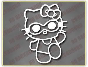 "DieCut Sticker / Aufkleber HELLO KITTY "" SWIMMER "" - weiß - 12,5x9,5cm"