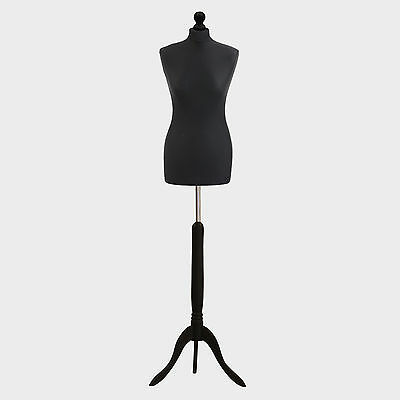 Female Tailor Dummy Bust Black UK 10/12 Sewing Fashion Student Mannequin Display
