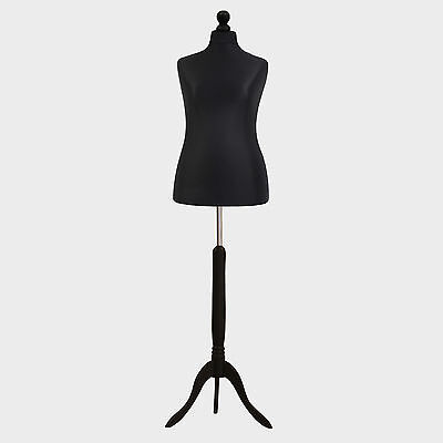 Female Tailor Dummy Bust Black UK 16/18 Sewing Fashion Student Mannequin Display