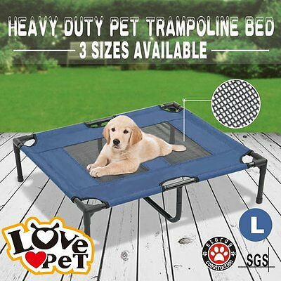 Heavy Duty Pet Dog Bed Trampoline Hammock Canvas Cat Puppy Cover Large blue