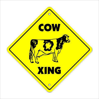 """Cow Crossing Sign Zone Xing 12"""" jersey cattle farm farmer ranch dairy collector"""