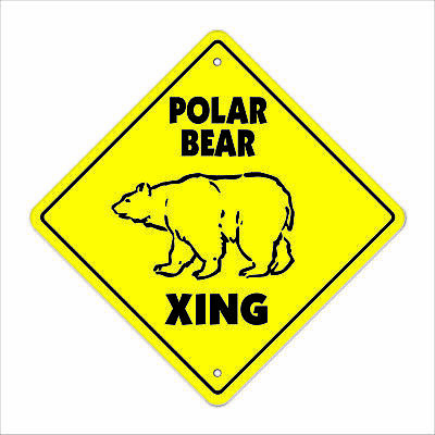 "Polar Bear Crossing Sign Zone Xing 12"" animals gag funny Artic zoo wild lover"