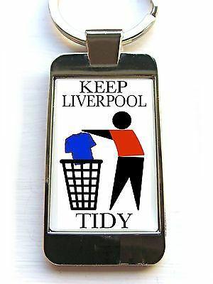 Liverpool Supporters Keep Your Area Tidy Badge Keyring Keyfob Key Fob Gift