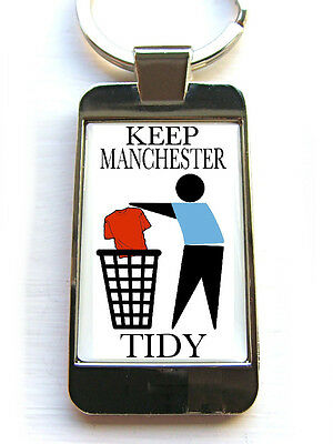 Manchester City Supporters Keep Your Area Tidy Badge Keyring Keyfob Key Fob Gift