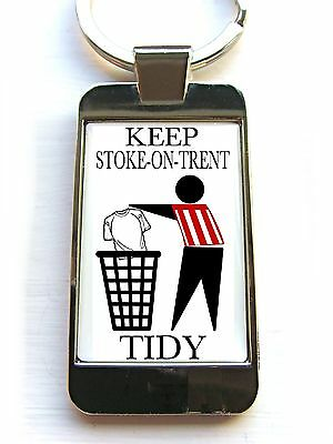 Stoke City Supporters Keep Your Area Tidy Badge Keyring Keyfob Key Fob Gift