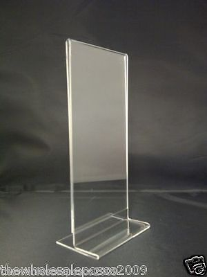 Clear Acrylic DL Free Standing Double Sided Menu Price List Holder 1/3rd A4