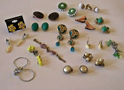 14 CLIP ON EARRINGS 2 Pierced Ears MIXED LOT Vintage COSTUME JEWELRY Collectible