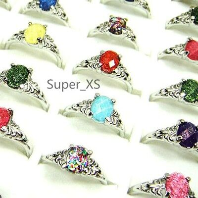 HOT ON SALE wholesale lots 50pcs pretty Acrylic silver rings new free shipping