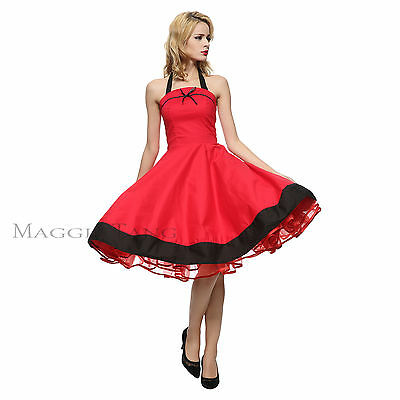 Maggie Tang 50s VTG Halter Housewife Rockabilly Pinup Party Dress R-502