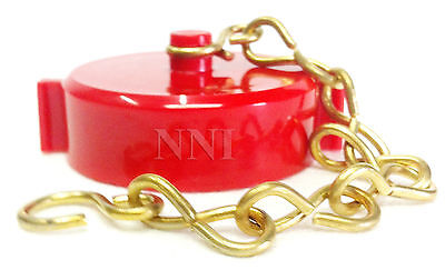 """1-1/2"""" Fire Hose Valve/Hydrant Cap and Chain  NST - Red Polycarbonate"""