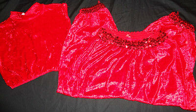 Girls Red Velvet Two Piece Dance Outset Fit Recital Red Sequins Top & Pants Soft